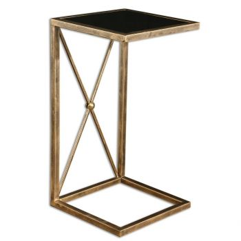"""Uttermost Zafina 13"""" Black Tempered Glass Side Table in Antique Gold Iron"""