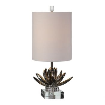 "Uttermost Silver Lotus 25"" Lotus Accent Lamp in Antique Metallic Silver"