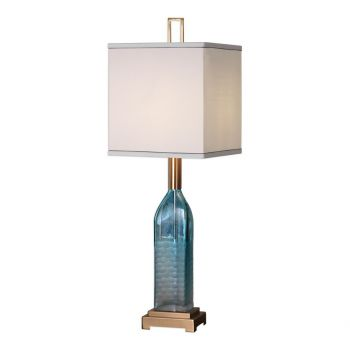 """Uttermost Annabella 34"""" Teal Glass Accent Lamp in Coffee Bronze"""