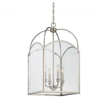 "Savoy House Garrett 4-Light 28"" Foyer in Polished Nickel"
