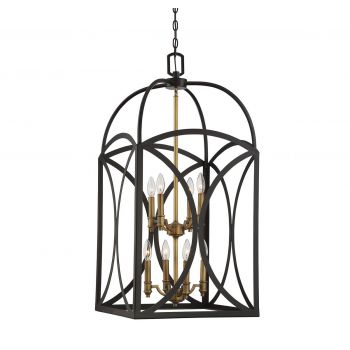 Savoy House Talbot 8-Light Large Foyer in English Bronze & Warm Brass