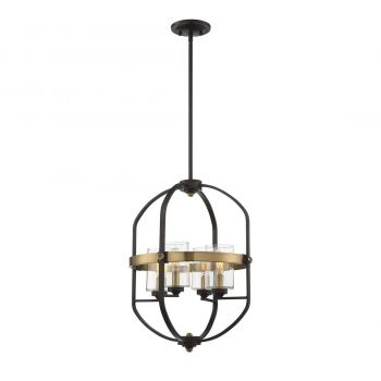 Savoy House Kirkland 4-Light Foyer Pendant in English Bronze and Warm Brass