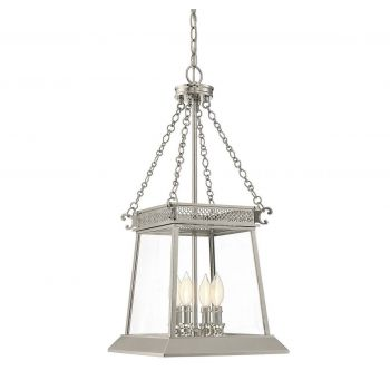 "Savoy House Norwich 27.5"" 4-Light Foyer in Polished Nickel"