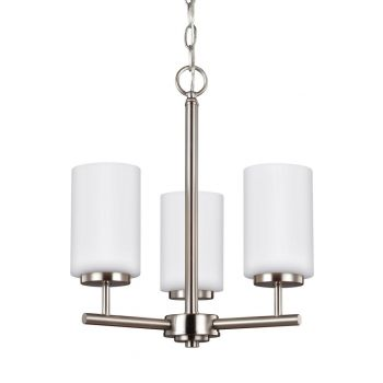 Sea Gull Oslo 3-Light Cased Opal Etched Chandelier in Brushed Nickel