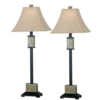 Kenroy Home Bennington Buffet Lamp 2-Pack in Natural Slate
