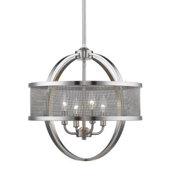 "Golden Lighting Colson 17.5"" 4-Light Chandelier w/ Shades in Pewter"