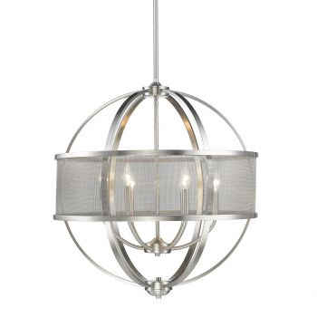 "Golden Lighting Colson 26.75"" 6-Light Chandelier w/ Shades in Pewter"