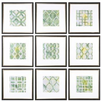 Uttermost Metric Links Geometric Art in Black Satin Frame (Set of 9)