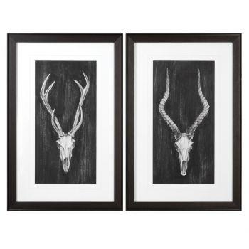 Uttermost Rustic European Mount Prints in Black Wooden Frame