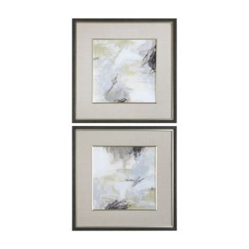 """Uttermost Abstract Vistas 32.5"""" Prints in Charcoal Faux Wood Frame (S/2)"""