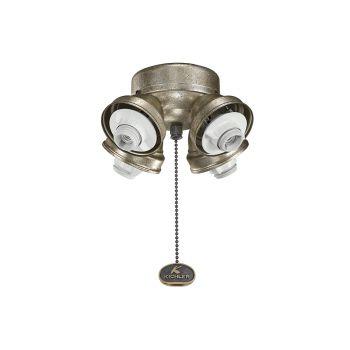 Kichler Accessory 4 Light Turtle Ceiling Fan Fitter in Sterling Gold