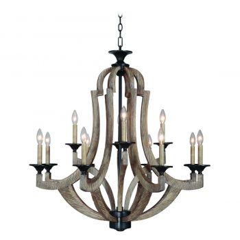 Craftmade Winton Rustic 12-Light Chandelier in Weathered Pine/Bronze