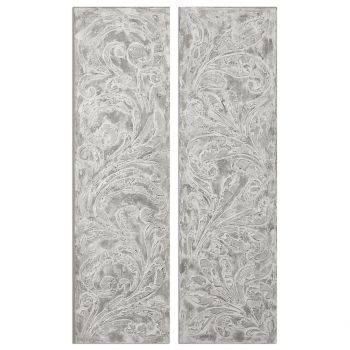 """Uttermost Frost On The Window 71"""" Fleur-De-Lis Art (Set of 2)"""