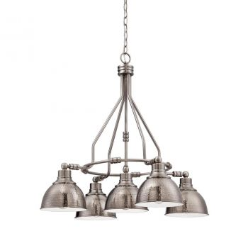 Jeremiah Timarron 5-Light Down Chandelier in Antique Nickel