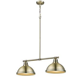 """Golden Lighting Duncan AB 31.25"""" 2-Light Linear Pendant Aged Brass"""