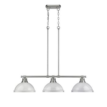 Golden Lighting Duncan 3-Light Linear Pendant in Pewter with White Shades
