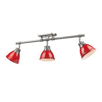 Golden Lighting Duncan 3-Light Semi-Flush - Track-Light in Pewter w/ Red Shades