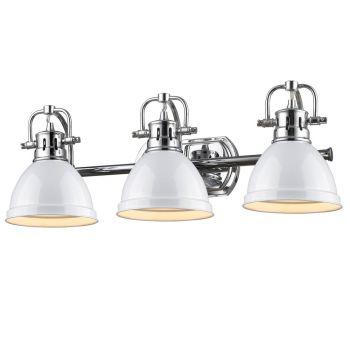 Golden Lighting Duncan 3-Light Bath Vanity in Chrome with White Shade