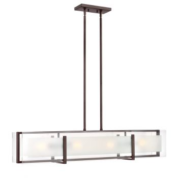 Hinkley 3996OZ Latitude 4-Light Stem Hung Linear in Oil Rubbed Bronze