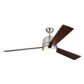 Monte Carlo Owen LED Fan in Brushed Steel w/ Rubberized White Blade