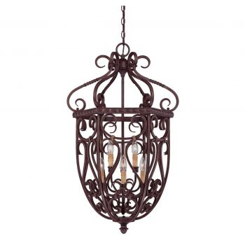 Savoy House Bellingham 6-Light Foyer Lantern in Bark & Gold