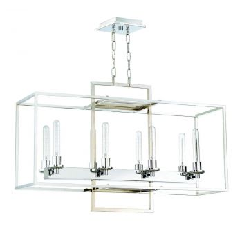 "Craftmade Cubic 36"" 8-Light Chandelier in Chrome"
