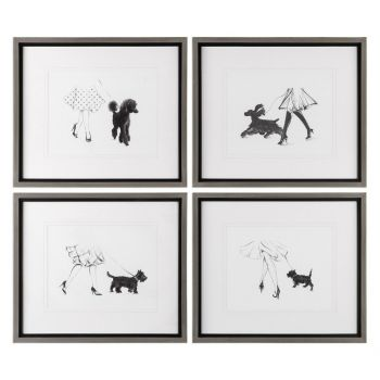 Uttermost Perfect Companions Dog Prints in Pewter Frame (Set of 4)