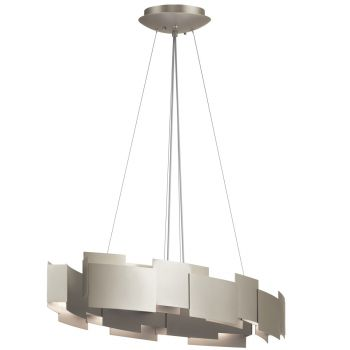 "Kichler Moderne 16.25"" 2-Light Chandelier Oval Pendant in Satin Nickel"