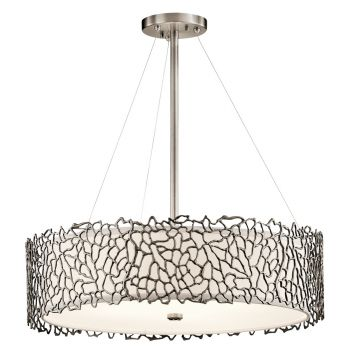 """Kichler Silver Coral 4-Light 22"""" Chandelier Round Pendant in Classic Pewter"""