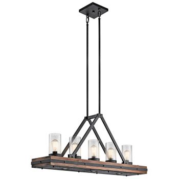 Kichler Colerne 5-Light Linear Chandelier in Auburn Stained Finish