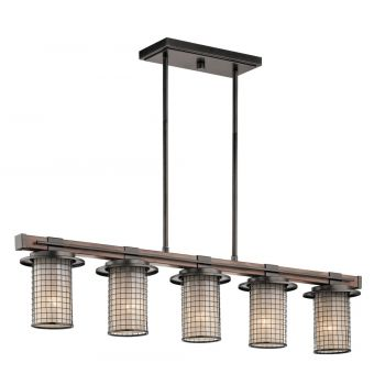 "Kichler Ahrendale 40"" 5-Light Linear Chandelier in Anvil Iron"