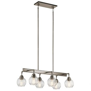 "Kichler Niles 32.25"" 6-Light Linear Chandelier in Antique Pewter"