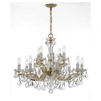"Crystorama Maria Theresa 29"" 12-Light Italian Crystal Chandelier in Gold"