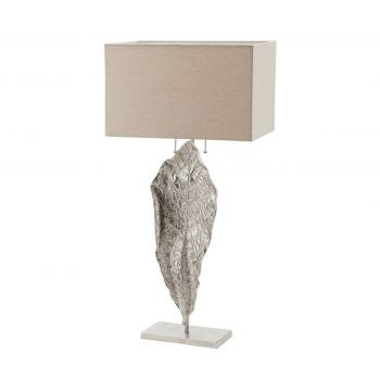"Dimond Leaf 35"" Tall Table Lamp in Nickel"