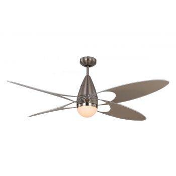 "Monte Carlo 54"" Butterfly Damp Rated Ceiling Fan in Brushed Steel"