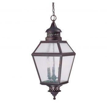 "Savoy House Chiminea 11"" Outdoor Hanging Lantern in English Bronze"