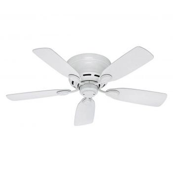 "Hunter Low Profile 42"" Ceiling Fan in White Finish"
