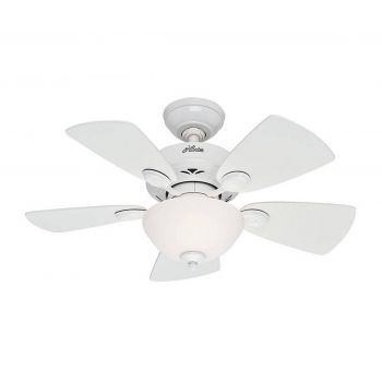 "Hunter Watson 34"" Ceiling Fan in Snow White Finish"