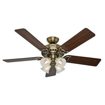 "Hunter Studio Series 52"" LED Classic Ceiling Fan in Antique Brass"
