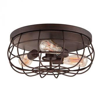 Millennium Lighting Neo-Industrial 3-Light 7 inch Flush Mount in Rubbed Bronze