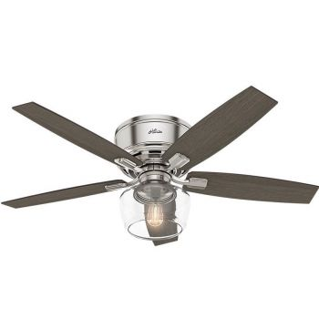 "Hunter Bennett 52"" LED Low Profile Ceiling Fan in Brushed Nickel/Chrome"