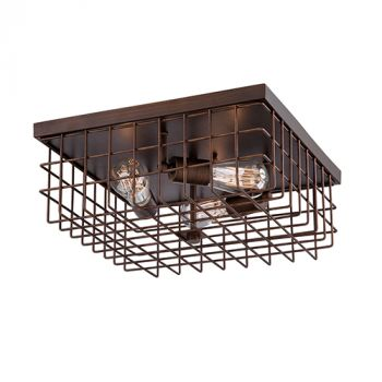 Millennium Lighting Neo-Industrial 3-Light 6 inch Flush Mount in Rubbed Bronze