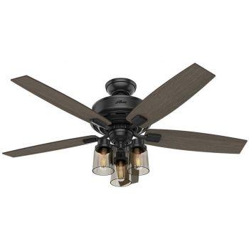 """Hunter Bennett 52"""" 3-Light LED Indoor Ceiling Fan in Black"""