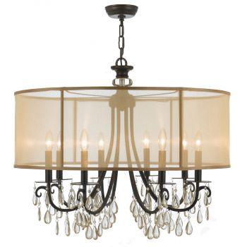 Crystorama Hampton 8-Light Chandelier in Antique Brass