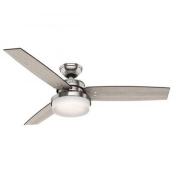 "Hunter Sentinel 52"" 2-Light LED Indoor Ceiling Fan in Nickel/Chrome"