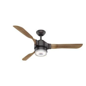 "Hunter Apache 54"" LED Smart Ceiling Fan in Noble Bronze with Oak Blades"
