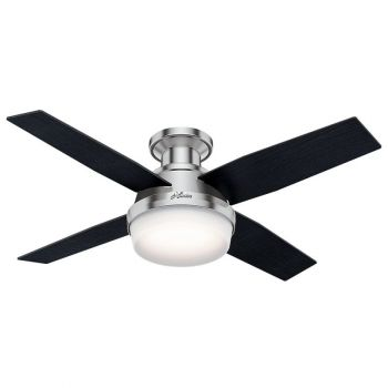 "Hunter Dempsey 44"" 2-Light LED Indoor Ceiling Fan in Nickel/Chrome"