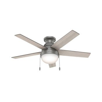 Hunter Anslee Low Profile Ceiling Fan in Brushed Nickel/Chrome