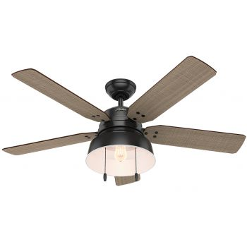 "Hunter Mill Valley 52"" LED Outdoor Ceiling Fan in Black"
