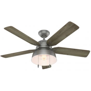 "Hunter Mill Valley 52"" LED Outdoor Ceiling Fan in Matte Silver"